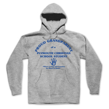 PLYMOUTH - PROUD GRANDPARENT - ADULT - PULLOVER HOODIE - LIGHT GRAY WITH BLUE Thumbnail